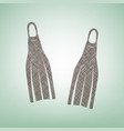 diving flippers sign brown flax icon on vector image