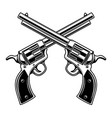 emblem template with crossed revolvers design vector image vector image