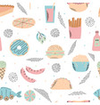 fast food seamless pattern background for menu vector image vector image