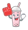 foam finger raspberry bubble tea character cartoon vector image vector image