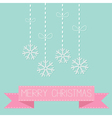 Four hanging snowflakes with dash line bows on blu vector image vector image