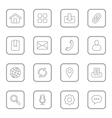 gray line web icon set rounded rectangle vector image vector image