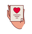 hand with gift list isolated icon vector image vector image