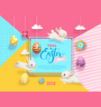 happy easter sale card decorated eggs hanging on vector image