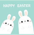happy easter two rabbit bunny in corner vector image vector image