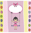 happy girl on a swing vector image