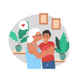 happy grandmother hugging and kissing grandson vector image vector image