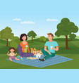 happy young family with kid on a picnic dad mom vector image vector image