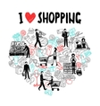 I love shopping concept vector image