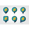 Lemon mapping pins icons vector image vector image