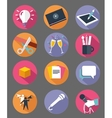 marketing icon set with long shadow effect vector image vector image