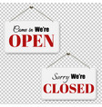 open and closed signs set transparent background vector image vector image