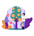 people growing tree with gold coins saving money vector image