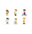 people walking on bike scooter skateboard vector image