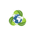 recycle ecology green logo vector image vector image