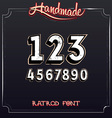 Retro Vintage Label Font Grunge Numbers vector image vector image