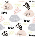 seamless pattern with cute whales and hearts cute vector image vector image