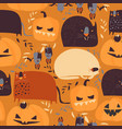 seamless pattern with pumpkins and cats on orange vector image