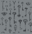 seamless pattern with vintage keys and keyholes vector image
