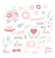 set cute small hand drawn hearts ribbons vector image