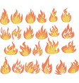 set flame icons fire icons and pictograms set vector image
