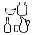 set glassware line icon flat isolated on white vector image vector image