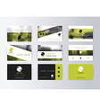 Set of business cards green background Template vector image