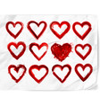set of red grunge hearts on realistic white paper vector image