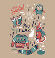 set with cute winter elements in cartoon style vector image vector image