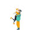 sketch lovers hugging walking at winter vector image vector image