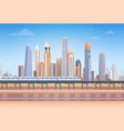 subway over city skyscraper view cityscape vector image vector image