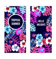 summer banners with tropical leaves and flowers vector image vector image