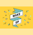 wake up vintage ribbon banner vector image vector image