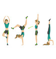 woman fitness girl doing sport physical vector image vector image
