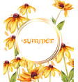 yellow flowers watercolor card summer vector image vector image