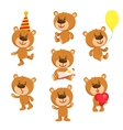 Set of cute teddy bear character standing sitting vector image