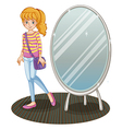 A girl beside a mirror vector image vector image