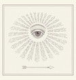 all-seeing eye eye in sky with light vector image vector image