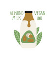 almond milk in a cartoon bottle vegan milk vector image