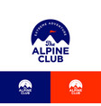 alpine club logo mountains peaks on circle vector image vector image