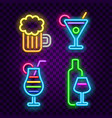 bar and alcohol drinks neon signs set vector image vector image