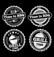 bbq and grill time grunge labels design vector image vector image