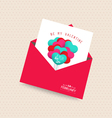 be my valentine day greeting card with envelope vector image vector image