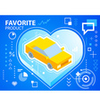 bright heart and car on blue background for vector image vector image