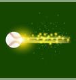 burning baseball ball with yellow sparkles vector image vector image