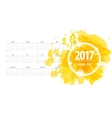 Calendar 2017 week starts from sunday yellow vector image vector image