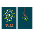 christmas greeting cards with mistletoe vector image vector image