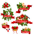 christmas greeting ribbons decoration icons vector image vector image