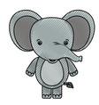 color crayon silhouette caricature cute elephant vector image vector image