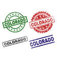 damaged textured colorado stamp seals vector image